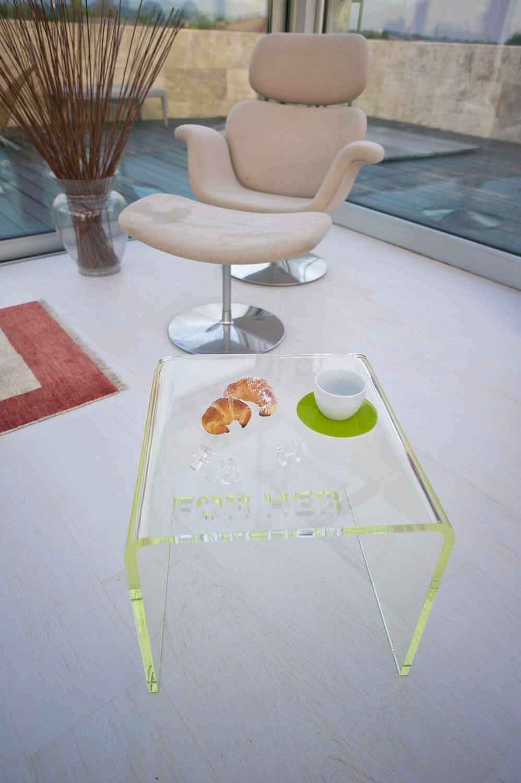 Sæt design sengeborde i gennemsigtigt methacrylat