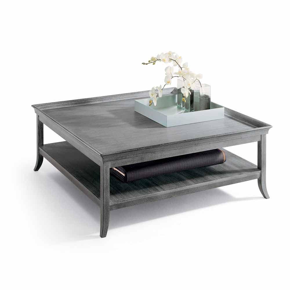 Sofabord i sølv lakeret træ lounge, L130xP130 cm, Berit