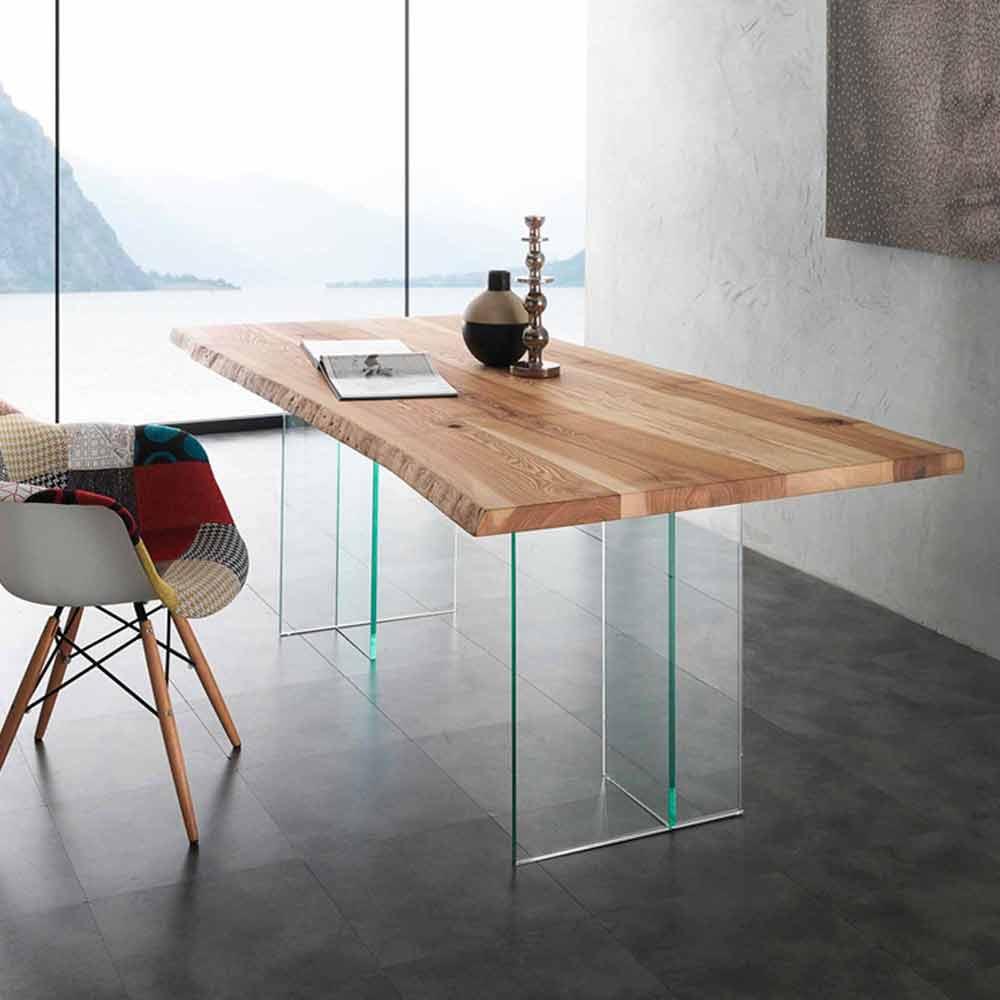 Smuk massivt træ spisebord og glas Marlon VG-83
