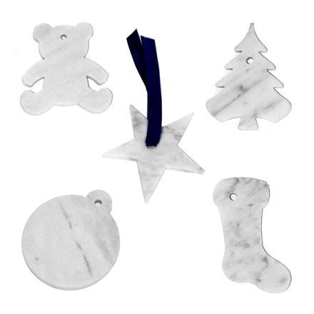 10 juletræspynt i hvid Carrara marmor luksus design - dekorationer