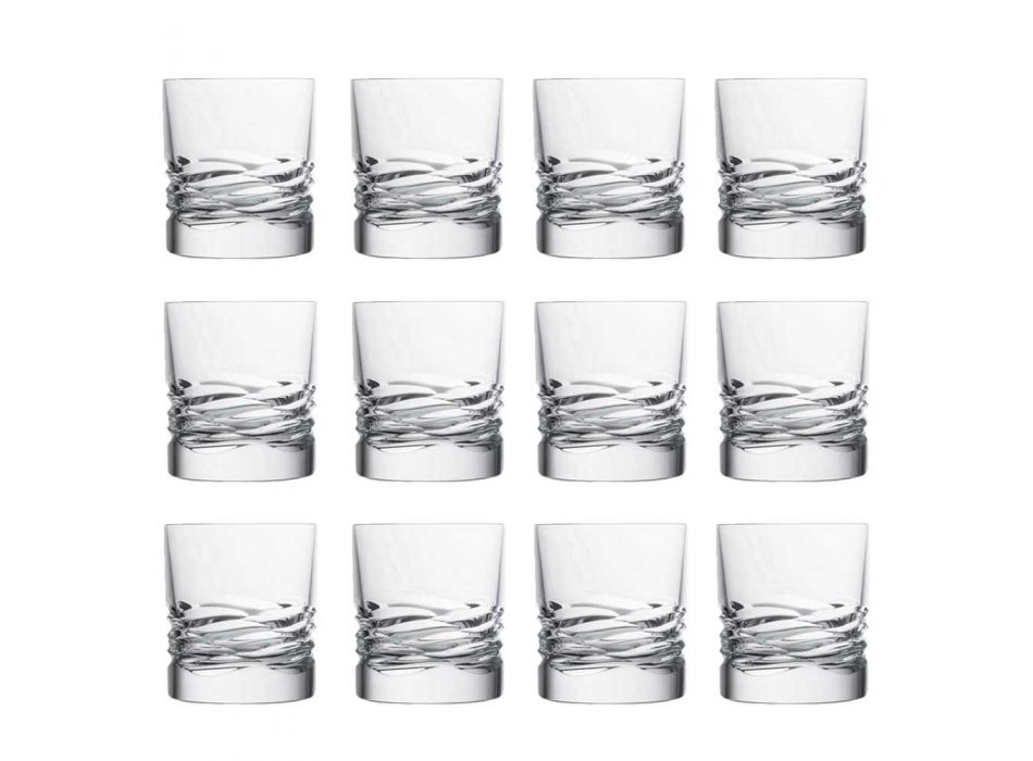 12 Crystal Glasses Wave Decor til Whisky eller Dof Tumbler Water - Titanium