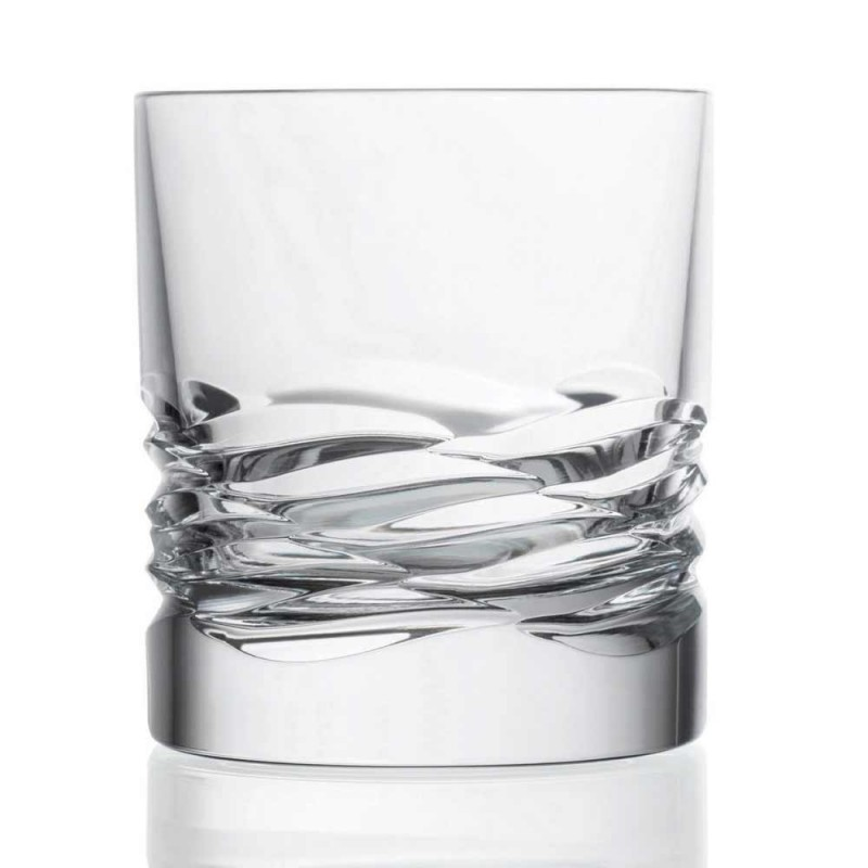 12 Crystal Glasses Wave Decor til Whisky eller Dof Tumbler Water - Titanium