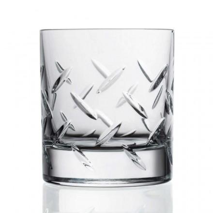 12 briller til whisky eller vand i øko-krystal med dyrebare dekorationer - arytmi