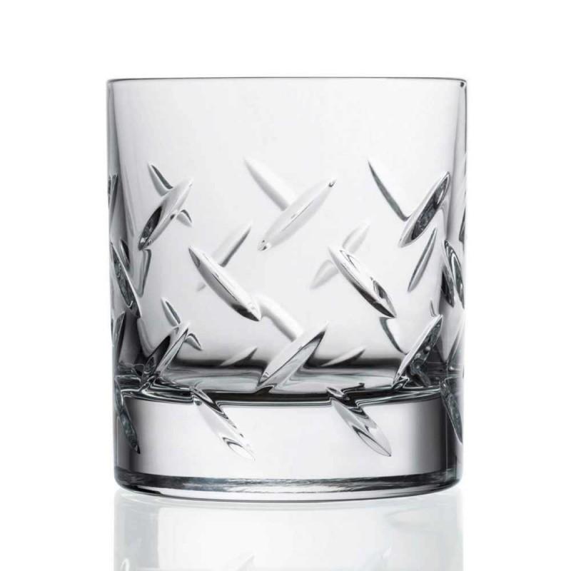 12 briller til whisky eller vand i øko-krystal med moderne dekorationer - arytmi