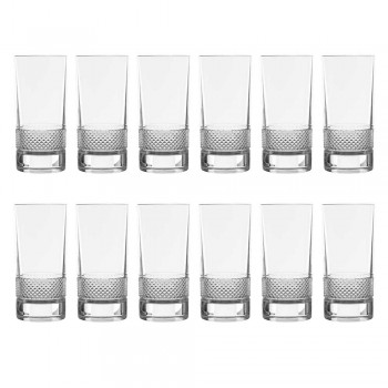 12 høje tumbler briller i luksuriøst dekoreret økologisk krystal - Milito