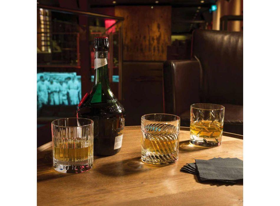 12 Whisky- eller krystalvandbriller med luksuriøs lineær dekoration - arytmi