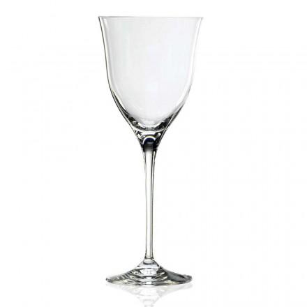 12 hvide vinglas i økologisk krystal minimal luksusdesign - glat