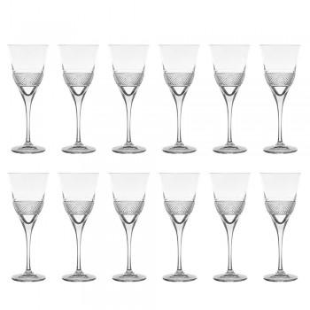 12 røde vinglas i øko-krystal elegant dekoreret design - Milito
