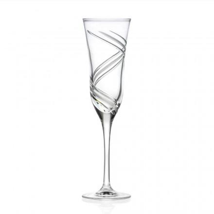 12 champagnefløjtebriller i dekoreret økologisk krystal fremstillet i Italien - cyklon