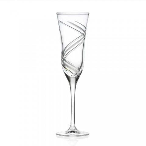 12 Champagne fløjtebriller i innovativt dekoreret økologisk krystal - cyklon