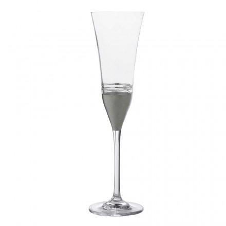 12 fløjte krystalglas med guld, bronze eller platinblad, luksus - Soffio