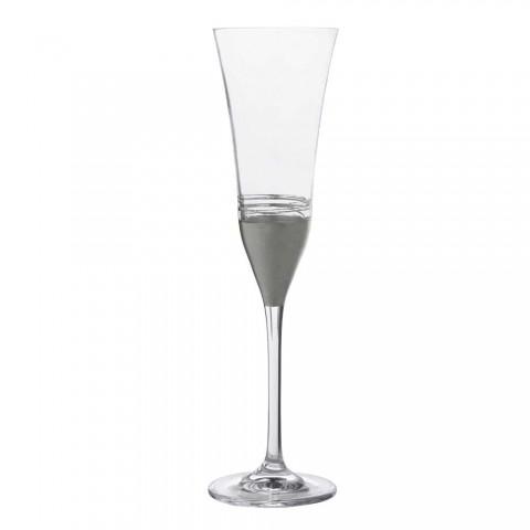 12 krystalfløjtebægre med luksusguld bronze eller platinblad - Soffio