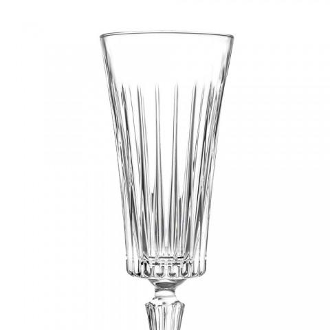 12 fløjtebriller til mousserende vin med lineær udskæring i øko-krystal - Senzatempo