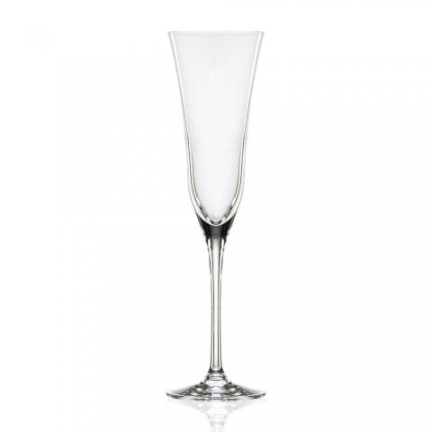 12 fløjtebriller i økologisk luksuskrystal minimalt design - glat
