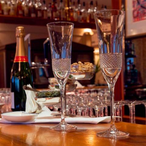 12 fløjtebriller til champagne i økologisk krystal med manuel dekoration - Milito