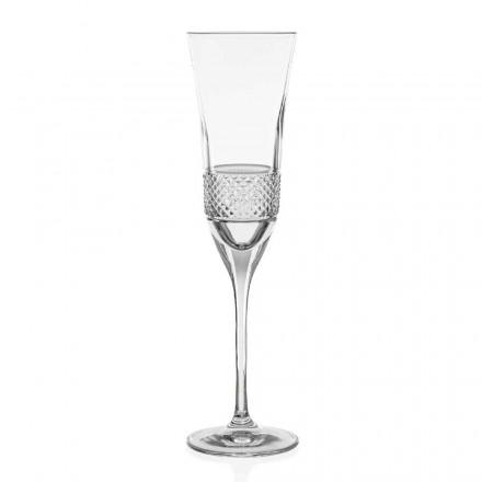12 økologiske krystal champagne fløjtebriller, hånddekoreret - Milito