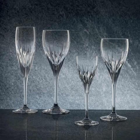 12 hånddekorerede hvide vinglas i økologisk luksuskrystal - Voglia