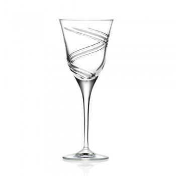 12 briller til hvidvin i dekoreret og satin økologisk krystal - cyklon