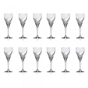12 røde vinglas i økologisk krystal luksus design - Montecristo