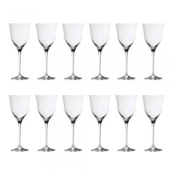 12 røde vinglas i økologisk krystal luksus minimalt design - glat