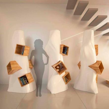 Moderne design bogreol i træ og K2 Solid Surface lavet i Italien
