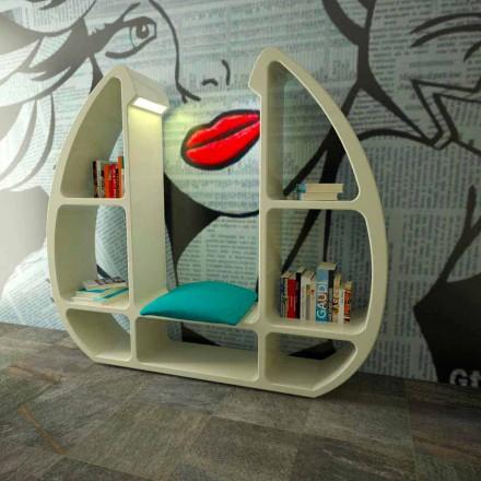 Moderne design bogreol i Solid Surface Shelley lavet i Italien