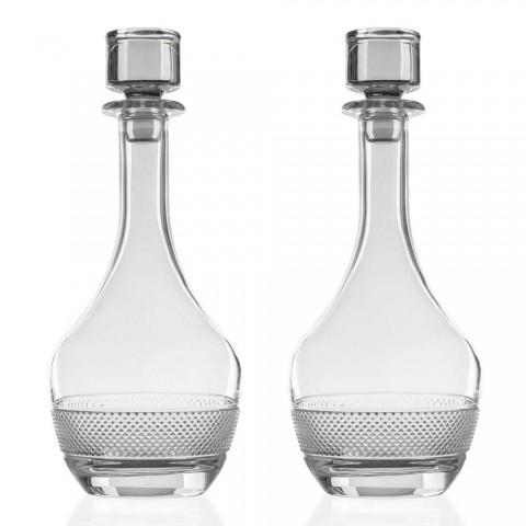 2 vinflasker med runde økologiske krystalåg - Milito