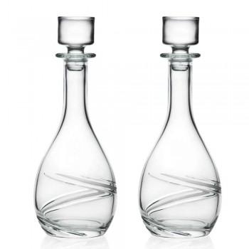 2 vinflasker og luksushånddekoreret øko-krystallåg - cyklon