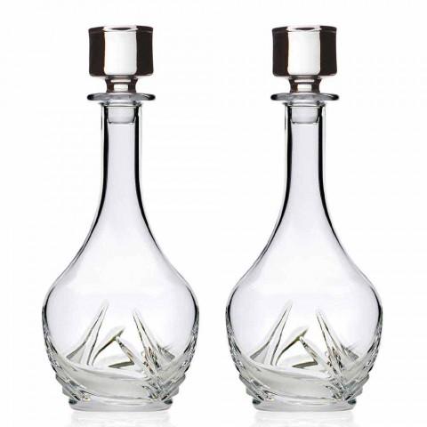 2 øko-krystalvinflasker med rundt designlåg og dekorationer - advent