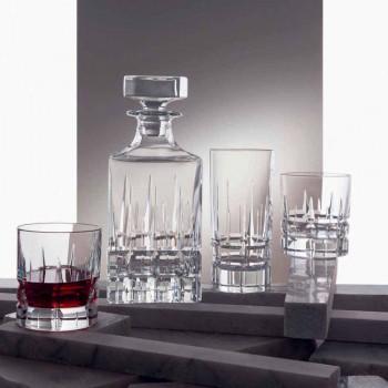 2 whiskyflasker med krystalhætte firkantet design med hætte - Fiucco