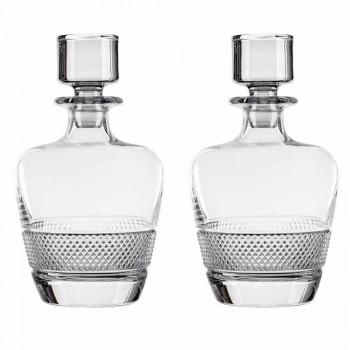 2 whiskyflasker dekoreret i økologisk krystal elegant design - Milito