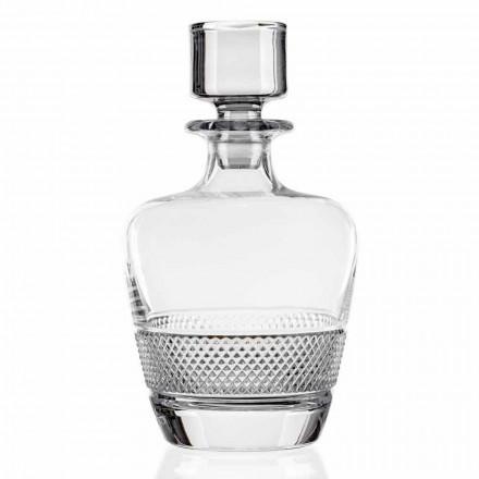 2 whiskyflasker dekoreret i økologisk krystal fremstillet i Italien - Milito