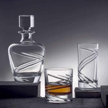 2 whiskyflasker i italiensk håndværkerøkologisk krystal - cyklon