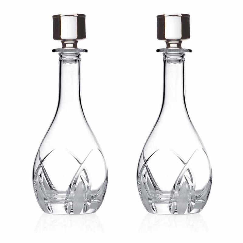 2 vinflasker med runde designlåg i øko-krystal - Montecristo