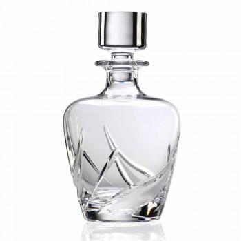 2 Crystal Whisky-flasker med luksuriøst dekoreret designhætte - advent