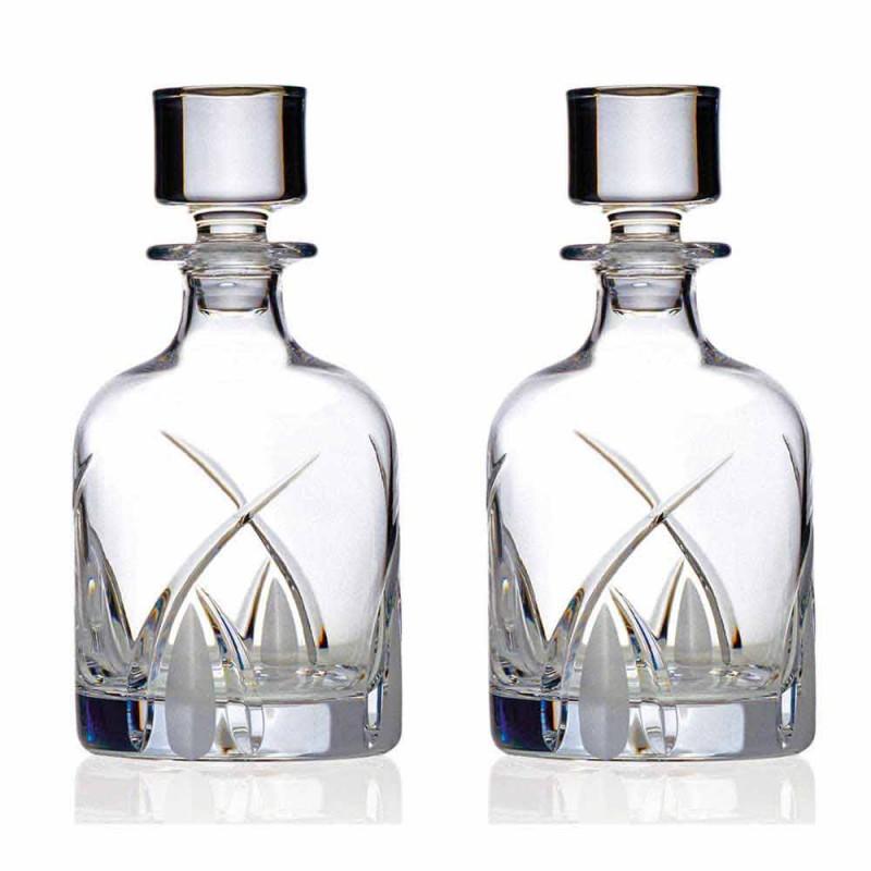 2 whiskyflasker med cylindrisk designhætte i øko-krystal - Montecristo