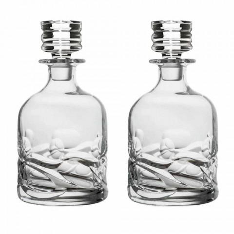 2 Eco-dekorerede Crystal Whisky-flasker og luksusdesignhætte - Titanium