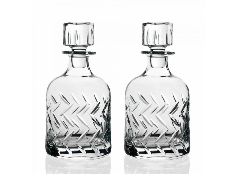 2 miljøvenlige Crystal Whisky-flasker med dekorativ hætte i vintage - arytmi