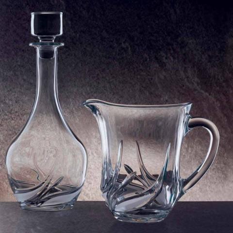 2 vandkander i økologisk krystal med luksusdekorationer lavet i Italien - advent