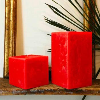2 firkantede lys i forskellige størrelser i voks fremstillet i Italien - Adelle
