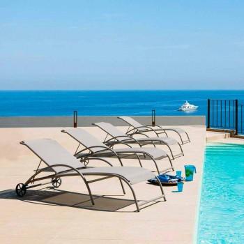 2 stabelbare udendørs chaiselonger i metal og stof fremstillet i Italien - Perlo