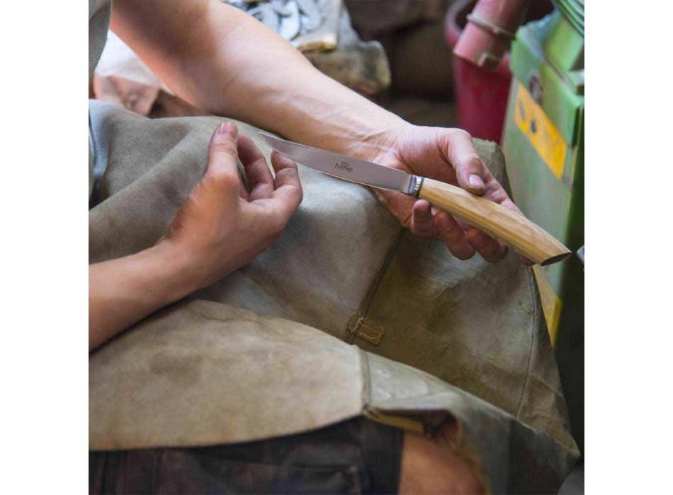 2 bøfknive med håndtag i oxhorn eller træ fremstillet i Italien - Marino