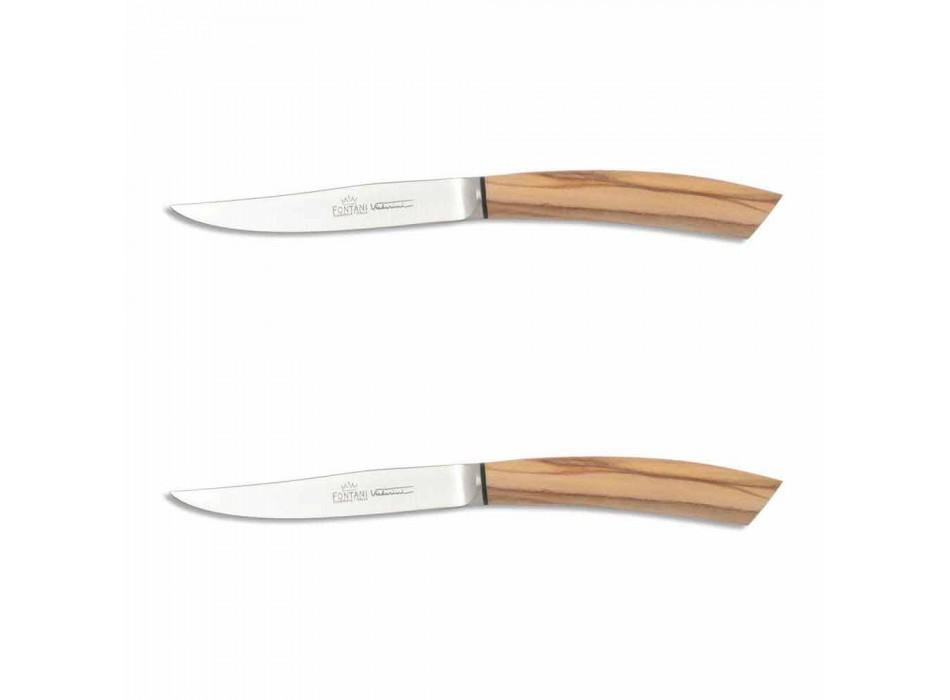 2 bøfknive med horn eller træhåndtag fremstillet i Italien - Marino