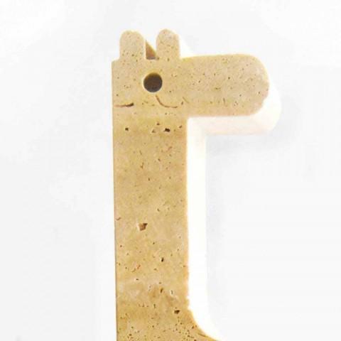 2 bogstøtter i travertinmarmor i form af en giraf fremstillet i Italien - Morra
