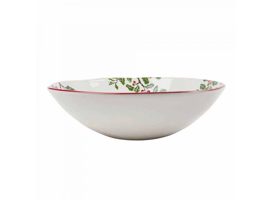 2 salatskåle med julepynt i serveringsplader i porcelæn - slagterkost