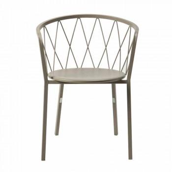 2 udendørs lænestole i malet metal stabelbar fremstillet i Italien - Adia