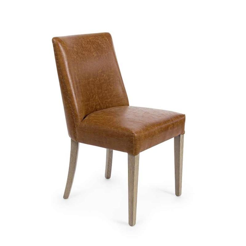 2 designstole i brun kunstlæder og homemotion i egetræ - Gallia