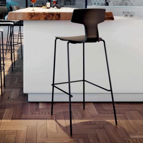 2 Stabelbare barstole i metal og polypropylen fremstillet i Italien - Arlette