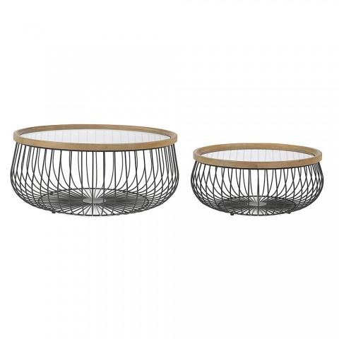 2 Homemotion kaffeborde med rundt glas og træplade - Randolo