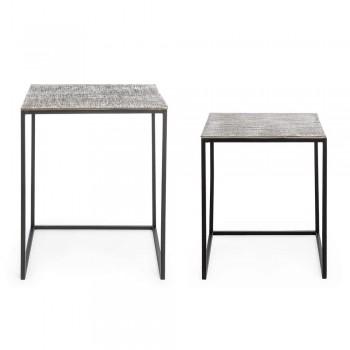 2 Homemotion kaffeborde i aluminium og malet stål - Sereno
